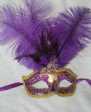 Purple and Gold Masquerade Mask - Feather Mask | Masks and Tiaras